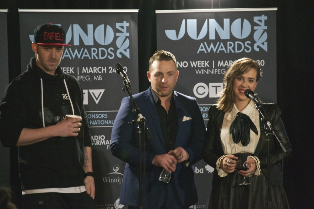 Juno Awards co-hosts Classified, Johnny Reid, Serena Ryder